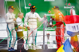Podium: winner Lewis Hamilton, Mercedes AMG F1, second place Kimi Raikkonen, Ferrari, third place Valtteri Bottas, Mercedes AMG F1