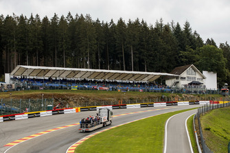 The drivers parade truck, from Eau Rouge, going up Raidillon