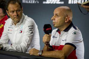 Aldo Costa, Mercedes AMG F1 and Simone Resta, Alfa Romeo Sauber F1 Team Designer in the Press Conference