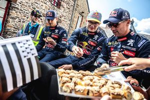 Timmy Hansen, Team Peugeot Total, Kevin Hansen, Team Peugeot Total, Sébastien Loeb, Team Peugeot Total, during the parade