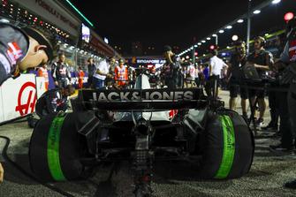 The car of Romain Grosjean, Haas F1 Team VF-18, on the grid