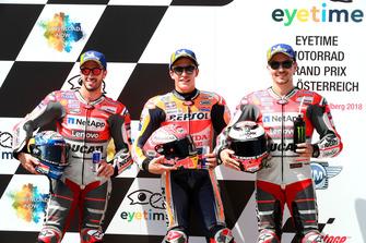 Polesitter Marc Marquez, Repsol Honda Team, nummer twee Andrea Dovizioso, Ducati Team, nummer drie Jorge Lorenzo, Ducati Team
