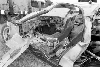 The wreckage of the car of Richard Holquist, M.R.J. Wyllie, Bruce Jennings, Scuderia Bear