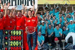 Ferrari en Mercedes zes wereldtitels