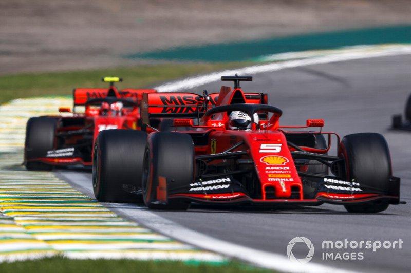 Sebastian Vettel, Ferrari SF90 e Charles Leclerc, Ferrari SF90
