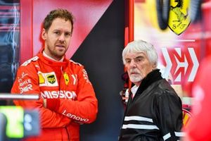 Sebastian Vettel, Ferrari and Bernie Ecclestone, Chairman Emiritus of Formula 1 in the Ferrari garage