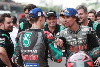 Polesitter Fabio Quartararo, Petronas Yamaha SRT, terzo classificato Franco Morbidelli, Petronas Yamaha SRT