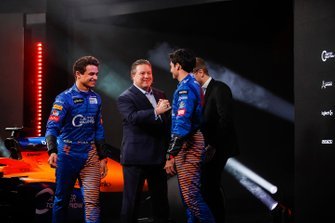 Carlos Sainz Jr., McLaren, Lando Norris, McLaren, Zak Brown, Executive Director, McLaren and Andreas Seidl, Team Principal, McLaren