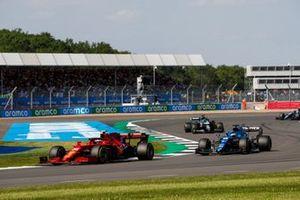 Carlos Sainz Jr., Ferrari SF21, Fernando Alonso, Alpine A521, and Lance Stroll, Aston Martin AMR21