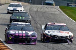 Alex Bowman, Hendrick Motorsports, Chevrolet Camaro Ally and Denny Hamlin, Joe Gibbs Racing, Toyota Camry FedEx Freight