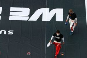 Charles Leclerc, Ferrari, and Mick Schumacher, Haas F1