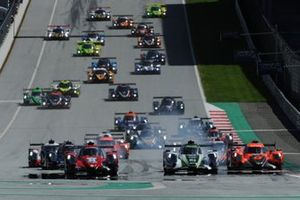 Start action, #34 Racing Team Turkey Oreca 07 - Gibson: Salih Yoluc, Charlie Eastwood, Logan Sargeant leads