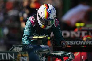 Sebastian Vettel, Aston Martin, in Parc Ferme after Qualifying