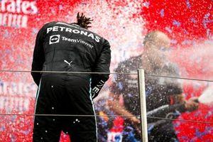 Lewis Hamilton, Mercedes, 2nd position, sprays Champagne on the podium