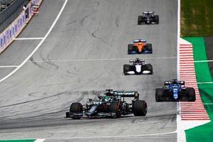 Lance Stroll, Aston Martin AMR21, Fernando Alonso, Alpine A521, George Russell, Williams FW43B, and Daniel Ricciardo, McLaren MCL35M