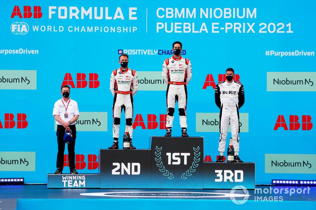 Podio: Allan McNish, director del equipo, Audi Sport Abt Schaeffler, segundo lugar René Rast, Audi Sport ABT Schaeffler, ganador Lucas Di Grassi, Audi Sport ABT Schaeffler, tercer lugar Edoardo Mortara, Venturi Racing