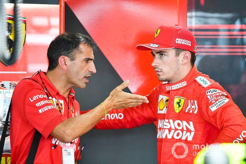 Marc Gene, Ferrari, habla con Charles Leclerc, Ferrari