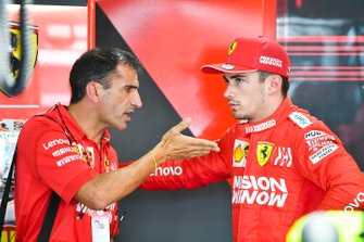 Marc Gene, Ferrari, talks with Charles Leclerc, Ferrari
