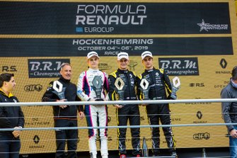 Podium race 1: winner Victor Martins, MP motorsport, second place Oscar Piastri, R-ACE GP, third place Caio Collet, R-ACE GP