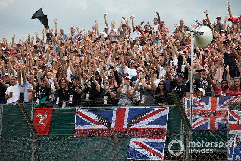 Fans of Lewis Hamilton, Mercedes AMG F1, cheer