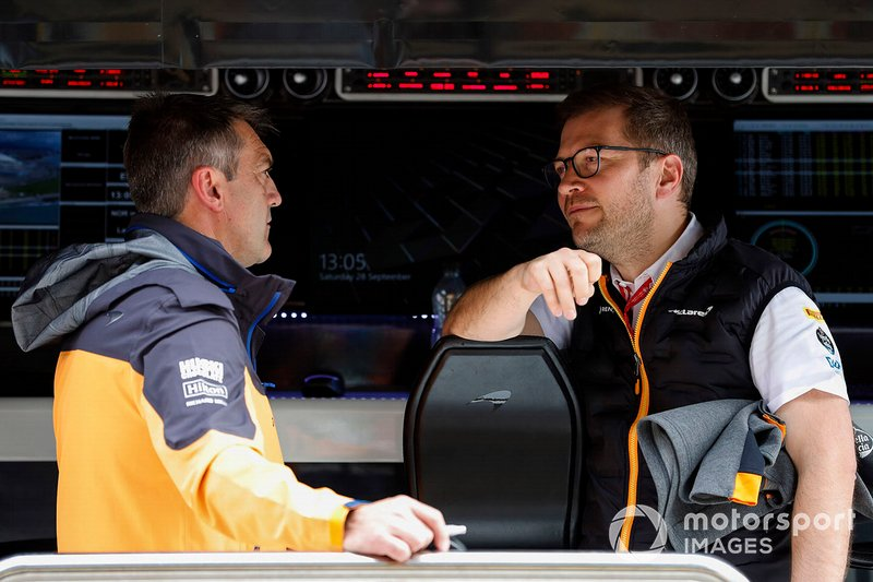 Paul James, Team Manager, McLaren, and Andreas Seidl, Team Principal, McLaren