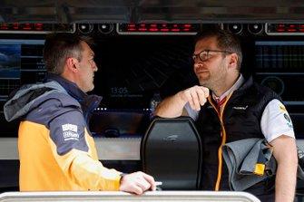 Paul James, Team Manager, McLaren, and Andreas Seidl, Team Principal, McLaren