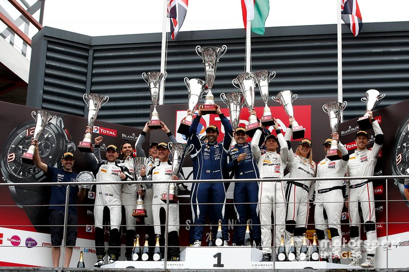 Podium Pro-Am: Winners #97 Oman Racing with TF Sport Aston Martin Vantage AMR GT3: Salih Yoluc, Ahmad Al Harthy, Charlie Eastwood, Nicki Thiim, second place #74 Ram Racing Mercedes-AMG GT3: Remon Vos, Darren Burke, Tom Onslow-Cole, Christiaan Frankenhout, third place #43 Strakka Racing Mercedes-AMG GT3: Richard Heistand, Christina Nielsen, David Fumanelli, Jack Hawksworth