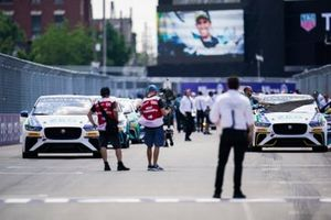 The cars line up on the grid for the start