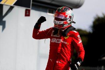 Race winner Charles Leclerc, Ferrari celebrates in Parc Ferme