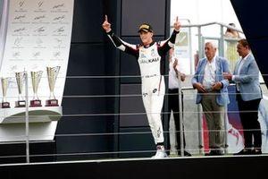 Race winner Leonardo Pulcini, Hitech Grand Prix celebrates on the podium