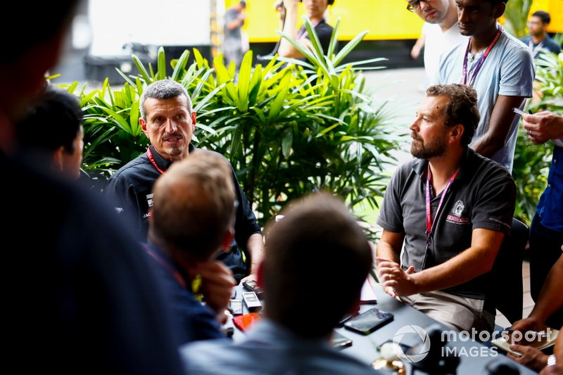 Guenther Steiner, Team Principal, Haas F1 Team speaks to the media