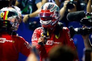 Race winner Sebastian Vettel, Ferrari and Charles Leclerc, Ferrari celebrate in Parc Ferme
