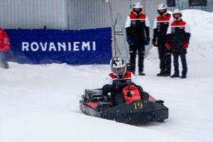 Sebastien Ogier, Elfyn Evans, Kalle Rovanpera and Takamoto Katsuta of Toyota Gazoo Racing are seen at Snow Rally Rings