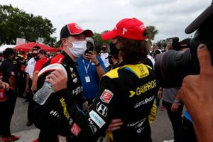 Josef Newgarden, Team Penske Chevrolet, Colton Herta, Andretti Autosport Honda celebrate in victory lane