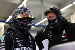 Lewis Hamilton, Mercedes-AMG F1, and Toto Wolff, Executive Director (Business), Mercedes AMG