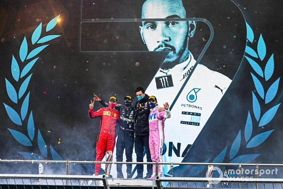 Turquie - Podium : Lewis Hamilton, Sergio Pérez, Sebastian Vettel