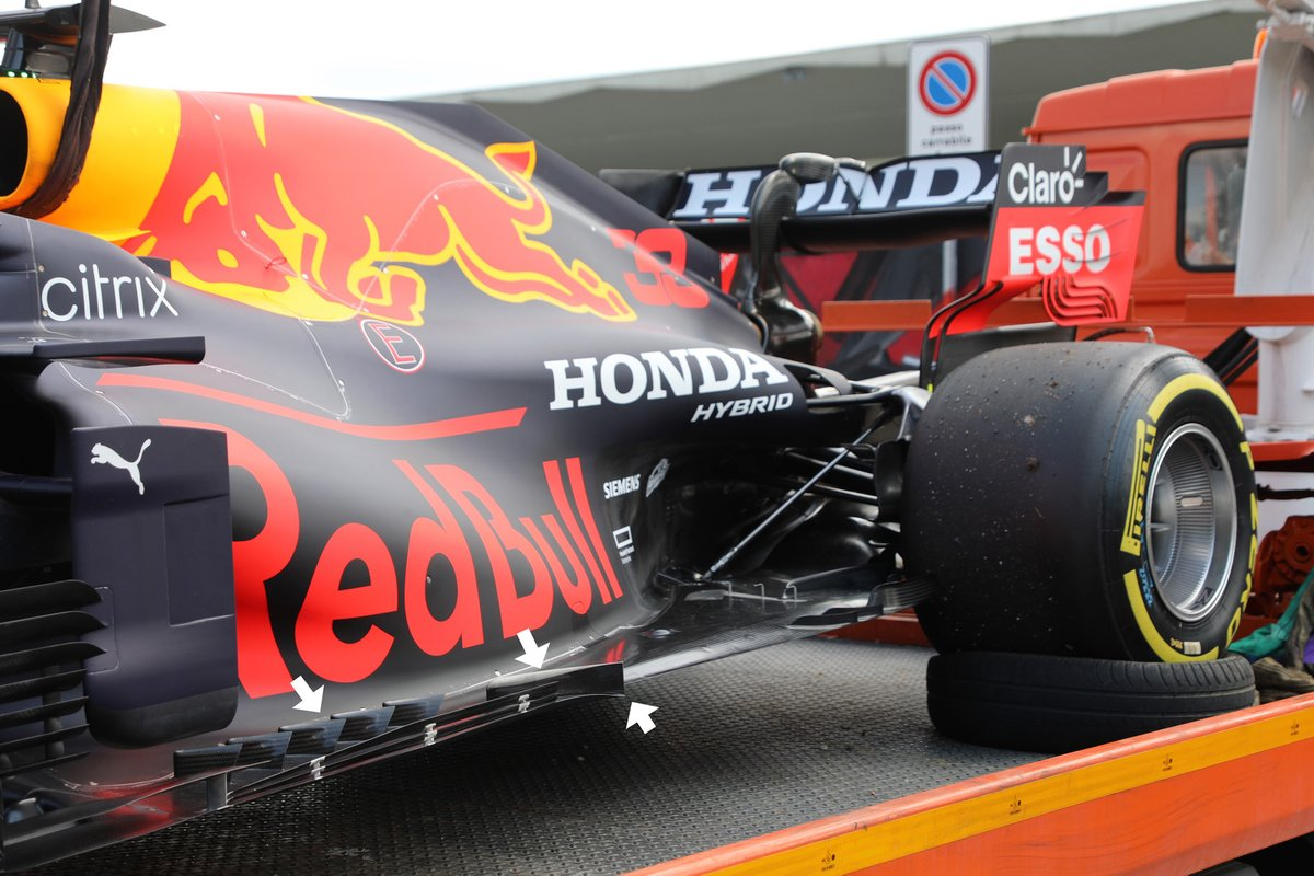 Detalle del suelo del Red Bull Racing RB16B