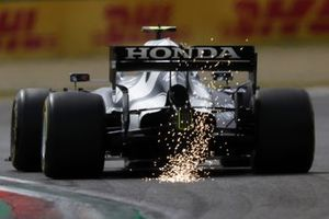 Pierre Gasly, AlphaTauri AT02, kicks up some sparks