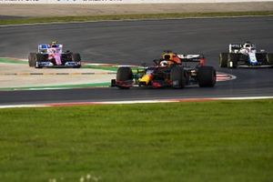 Max Verstappen, Red Bull Racing RB16, George Russell, Williams FW43, and Lance Stroll, Racing Point RP20