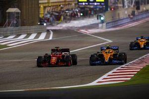Charles Leclerc, Ferrari SF21, battles with Lando Norris, McLaren MCL35M