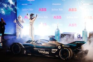 Nyck de Vries, Mercedes Benz EQ, 1st position, celebrates on arrival in Parc Ferme
