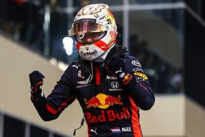 Max Verstappen, Red Bull Racing, 1st position, celebrates upon arrival in Parc Ferme
