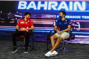Charles Leclerc, Ferrari, and George Russell, Williams, in the press conference