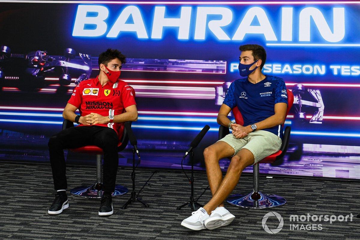 Charles Leclerc, Ferrari, e George Russell, Williams, in conferenza stampa