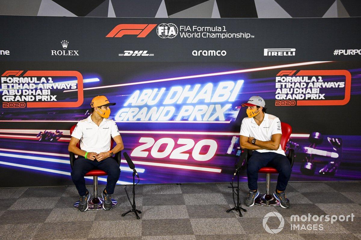 Lando Norris, McLaren y Carlos Sainz Jr., McLaren en rueda de prensa