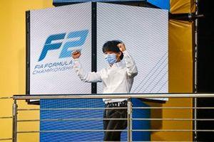 F2 Championship 3rd position Yuki Tsunoda, Carlin celebrates on the podium