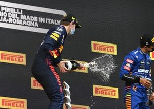 Max Verstappen, Red Bull Racing celebrates his victory on the podium Emilia Romagna GP