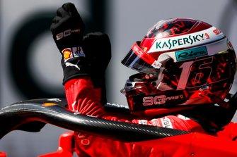 Pole sitter Charles Leclerc, Ferrari, celebrates