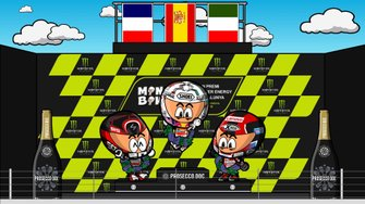 El podio del GP de Catalunya de MotoGP 2019, por MiniBikers