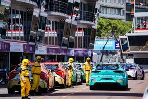 The eTrophy cars line up in the pit lane